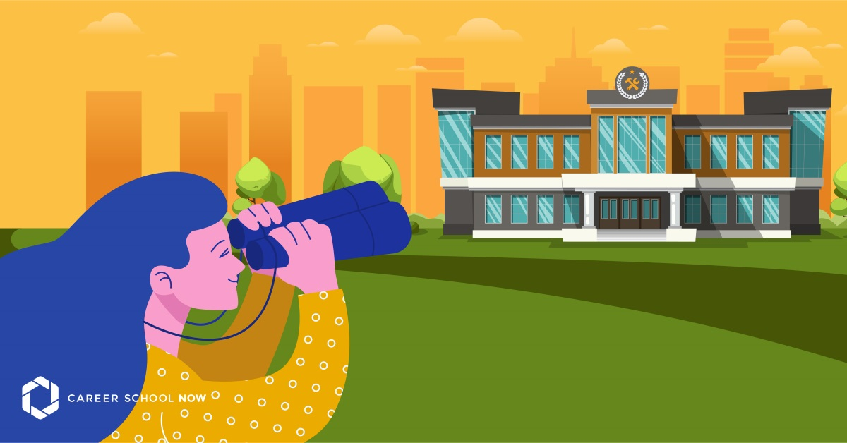 What a Trade School Is & How to Apply. Graphic art of a woman viewing a trade school from a distance using binoculars. City horizon in the further distance.