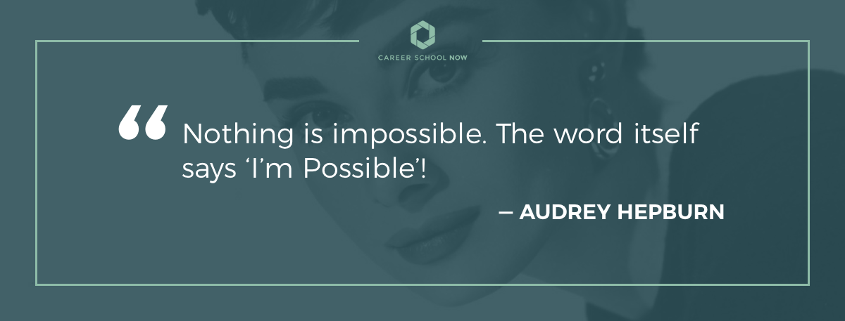 Audrey Hepburn quote on how to become xray technician article