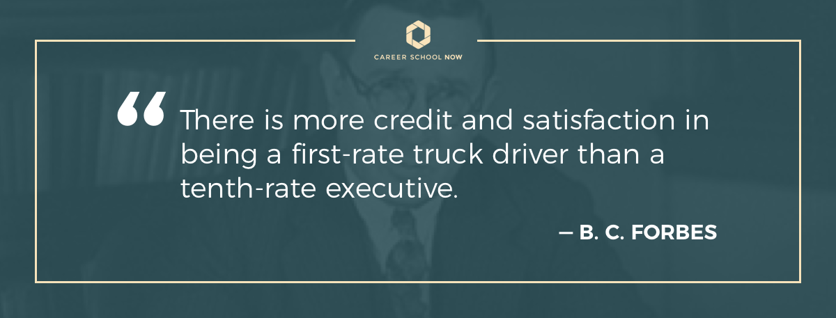 Forbes quote about being a first-rate truck driver-How to become a truck driver article