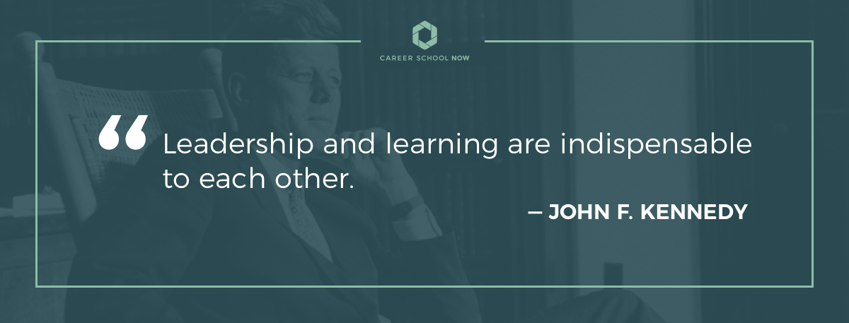 John F. Kennedy quote on article about how to become a hotel manager